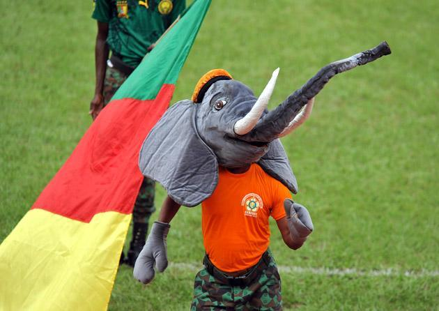 The mascot of the 8th edition of the African Military Cup (CAMFOOT) stands on the pitch before the final football match between Cameroon and Mali at the Felix Houphouet Boigny staduim in Abidjan on December 16, 2012. Mali won 1-0. AFP PHOTO/ SIA KAMBOU