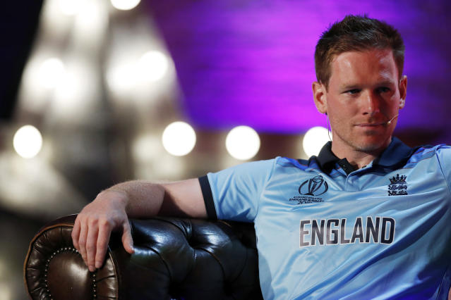 England's Eoin Morgan smiles, during the Captains' Press Conference, in London, Thursday, May 23, 2019. The Cricket World Cup starts on Thursday May 30. (Andrew Boyers/Pool Photo via AP)