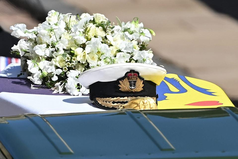 The Funeral Of Prince Philip, Duke Of Edinburgh Is Held In Windsor Close Up of Flowers on Coffin