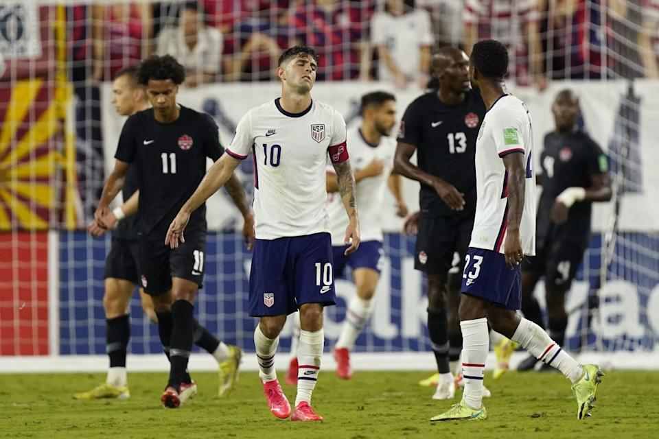U.S. forward Christian Pulisic reacts to missing a shot against Canada during a World Cup qualifier on Sunday.