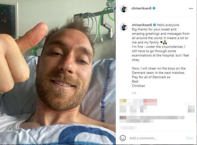 Christian Eriksen gives a thumbs up in an Instagram post