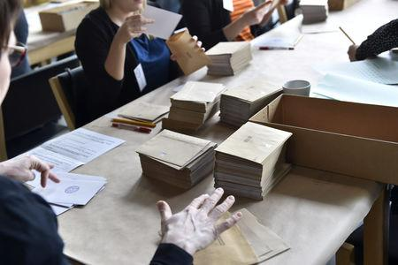 Advance votes of the Finnish parliamentary elections are being counted in Helsinki, Finland April 14, 2019. Lehtikuva/Emmi Korhonen via REUTERS