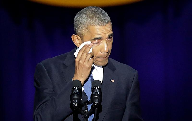Obama shed a tear during his speech while reflecting on his legacy and his family.