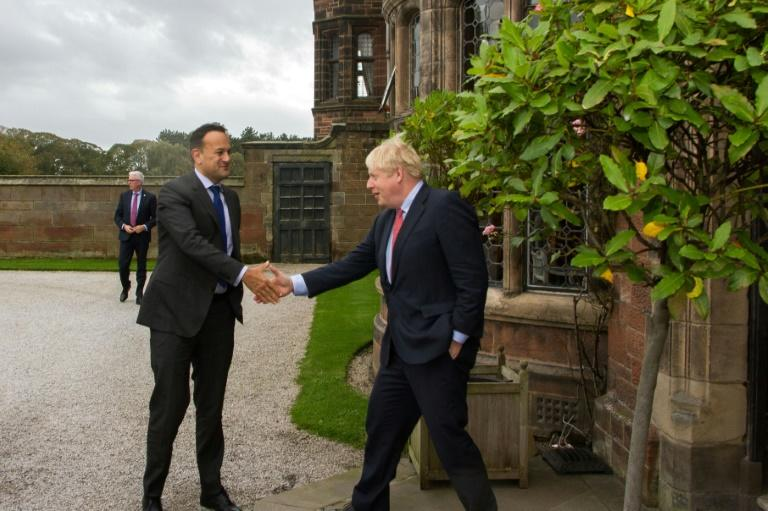 Britain's Prime Minister Boris Johnson (R) met Ireland's Taoiseach, prime minister, Leo Varadkar (L)  near Liverpool to seek a pathway to a possible Brexit deal