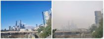 Social media combination of two pictures show clear skies in Melbourne city on January 9 and smoky skies on January 14