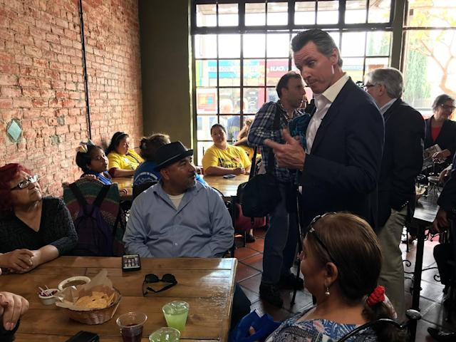 Newsom campaigning in East L.A. this year. (Photo: Andrew Romano/Yahoo News)