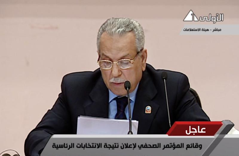 In this image taken from Egypt State TV, Judge Farouk Sultan, chairman of Egypt's election committee, announces the result of the presidential election at the State Information Service headquarters in Cairo, Egypt, Sunday, June 24, 2012. Egypt's electoral commission announced Sunday that Mohammed Morsi is victor of landmark presidential vote. (AP Photo/Egypt State TV) MANDATORY CREDIT