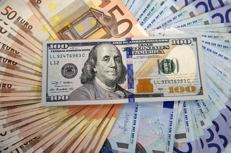 A picture illustration shows Euro and U.S. dollar banknotes in Sarajevo