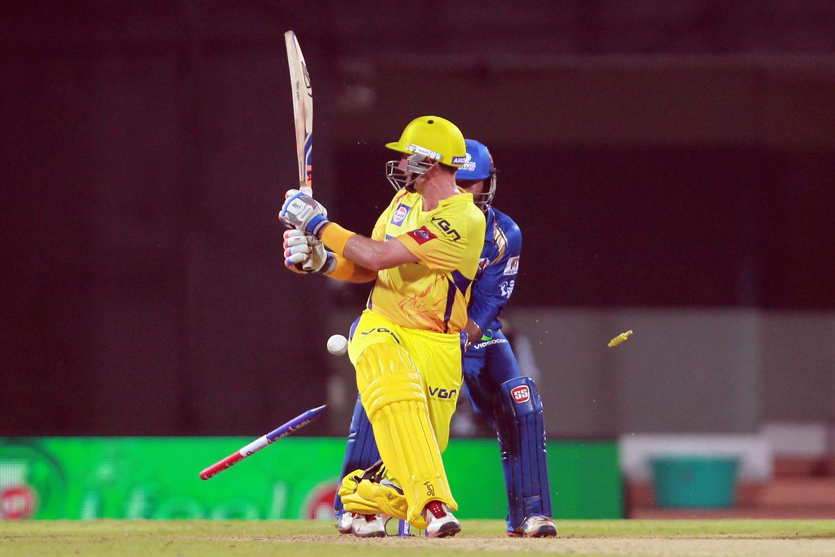 Michael Hussey is bowled by Harbhajan Singh during match 5 of of the Pepsi Indian Premier League between The Chennai Superkings and the Mumbai Indians held at the MA Chidambaram Stadiumin Chennai on the 6th April 2013. Photo by Jacques Rossouw-IPL-SPORTZPICS..Use of this image is subject to the terms and conditions as outlined by the BCCI. These terms can be found by following this link:..https://ec.yimg.com/ec?url=http%3a%2f%2fwww.sportzpics.co.za%2fimage%2fI0000SoRagM2cIEc&t=1506268902&sig=jmmJea1.DTCReNxcww6yew--~D