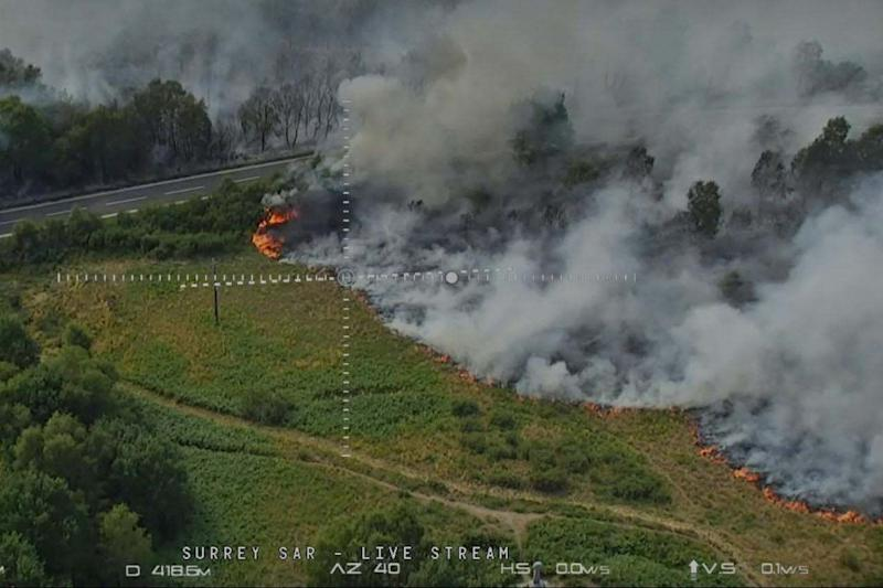 An ariel view of the fire (PA)