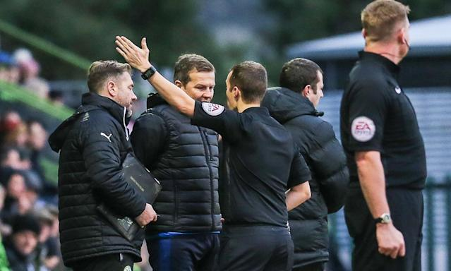 Mark Cooper is sent to the stands by referee Anthony Coggins during Forest Greeen's defeat at home to Wycombe.