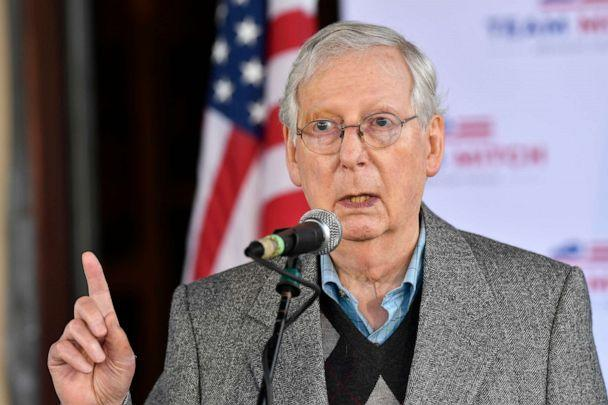PHOTO: Senate Majority Leader Mitch McConnell speaks to a gathering of supporters in Lawrenceburg, Ky., Oct. 28, 2020. (Timothy D. Easley/AP)