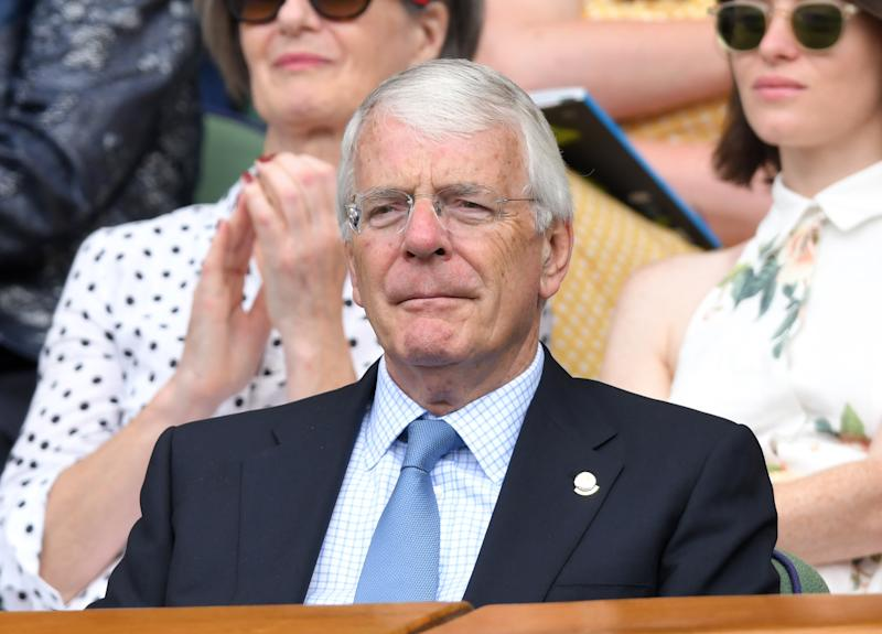 LONDON, ENGLAND - JULY 11: John Major attends day ten of the Wimbledon Tennis Championships at All England Lawn Tennis and Croquet Club on July 11, 2019 in London, England. (Photo by Karwai Tang/Getty Images)