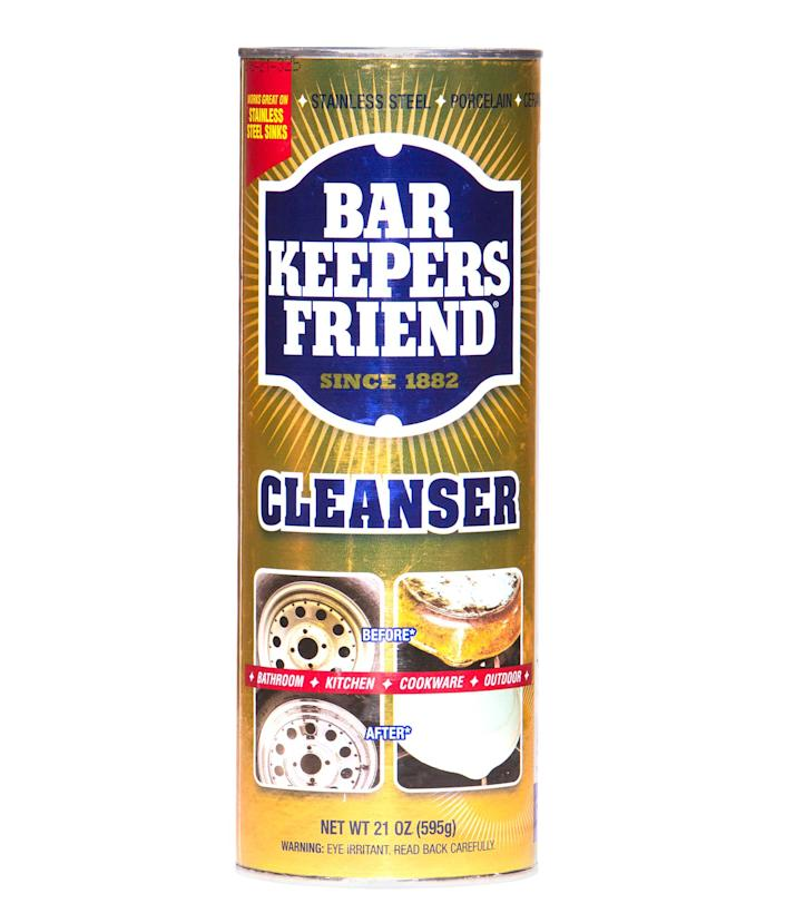 """<p>Beloved for more than 100 years, this bleach-free powder makes stainless steel look brand-new.</p> <p><strong>Buy it!</strong> $9; <a href=""""https://www.amazon.com/Bar-Keepers-Friend-Powdered-12-Ounces/dp/B000V72992"""" rel=""""sponsored noopener"""" target=""""_blank"""" data-ylk=""""slk:amazon.com"""" class=""""link rapid-noclick-resp"""">amazon.com</a></p>"""