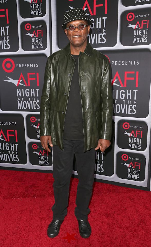 HOLLYWOOD, CA - APRIL 24: Actor Samuel L. Jackson arrives on the red carpet for Target Presents AFI's Night at the Movies at ArcLight Cinemas on April 24, 2013 in Hollywood, California.  (Photo by Frederick M. Brown/Getty Images)