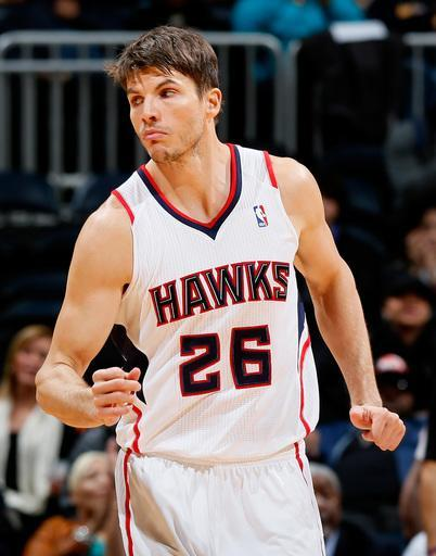 ATLANTA, GA - NOVEMBER 07: Kyle Korver #26 of the Atlanta Hawks reacts after hitting a three-point basket against the Indiana Pacers at Philips Arena on November 7, 2012 in Atlanta, Georgia. (Photo by Kevin C. Cox/Getty Images)