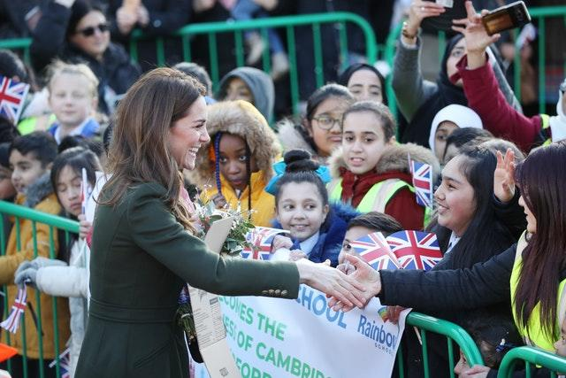 The duchess spoke to well-wishers outside City Hall