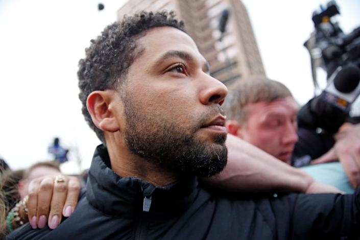 Jussie Smollett leaves jail after posting bond on Feb. 21. (Photo: Nuccio DiNuzzo/Getty Images)