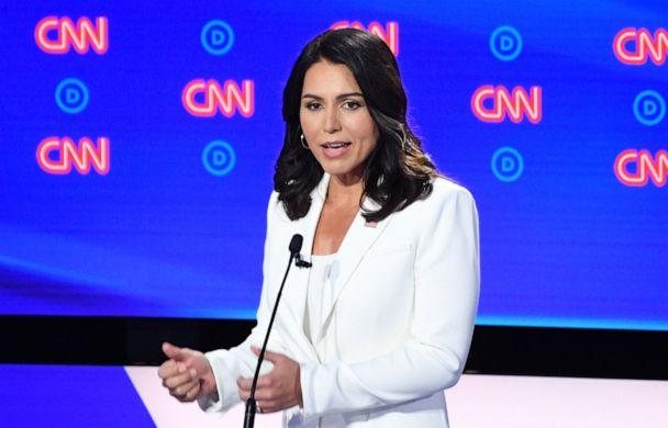 PHOTO: Democratic presidential hopeful US Representative for Hawaii's 2nd congressional district Tulsi Gabbard speaks during the second round of the second Democratic primary debate of the 2020 presidential campaign season hosted by CNN. (Jim Watson/AFP/Getty Images)