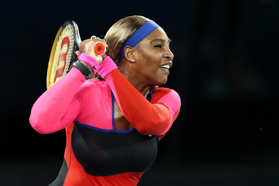 Serena Williams plays a backhand in her women's singles quarterfinals match against Simona Halep during the 2021 Australian Open at Melbourne Park on February 16, 2021.