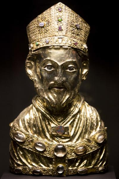 In this picture taken Jan. 9, 2014 a medieval reliquary bust of St. Blaise, of the Welfenschatz, is displayed at the Bode Museum in Berlin. One of Germany's most precious collections of medieval Christian art is at the center of a complicated ownership dispute between the foundation that oversees the Berlin museums and the heirs of Jewish art dealers who claim their ancestors had to sell the objects to the Nazis under pressure in 1935. For years, both sides have claimed they're the legitimate owners, arguing their cases without finding a successful solution, so on Wednesday Jan 15, 2014 , in a highly anticipated meeting, a German government-created commission will come together to make a recommendation on who should rightfully own the so-called Welfenschatz -or Guelph Treasure. (AP Photo/Markus Schreiber)