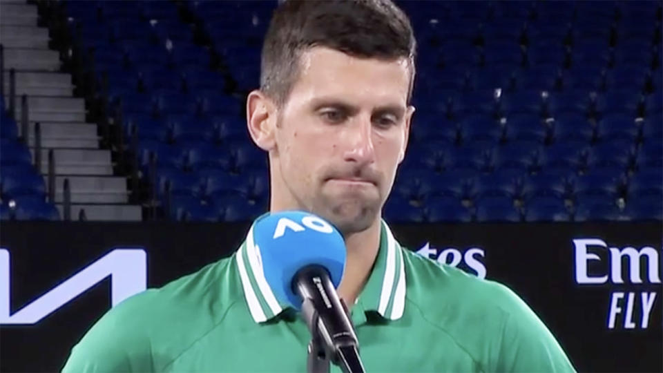 Novak Djokovic, pictured here after his win over Taylor Fritz at the Australian Open.