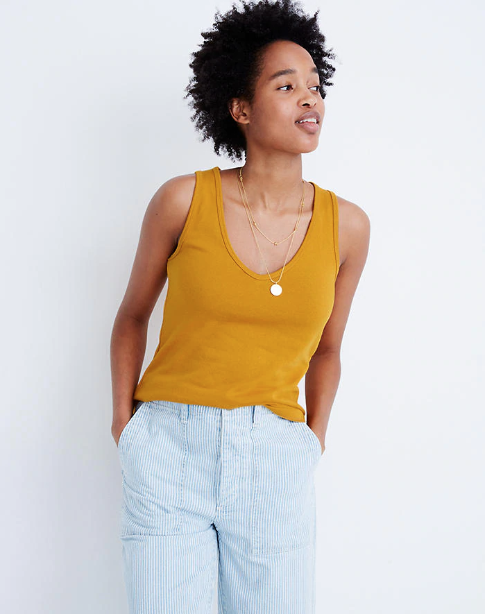 """<h3><a href=""""https://www.madewell.com/womens/sale"""" rel=""""nofollow noopener"""" target=""""_blank"""" data-ylk=""""slk:Madewell"""" class=""""link rapid-noclick-resp"""">Madewell<br></a></h3> <br><strong>Dates:</strong> Now - July 7<br><strong>Discount:</strong> Extra 30% off sale<br><strong>Promo Code:</strong> GIANT<br><br><strong>Madewell</strong> Tomboy V-Neck Tank Top, $, available at <a href=""""https://go.skimresources.com/?id=30283X879131&url=https%3A%2F%2Fwww.madewell.com%2Ftomboy-v-neck-tank-top-AI224.html"""" rel=""""nofollow noopener"""" target=""""_blank"""" data-ylk=""""slk:Madewell"""" class=""""link rapid-noclick-resp"""">Madewell</a><br><br><br>"""