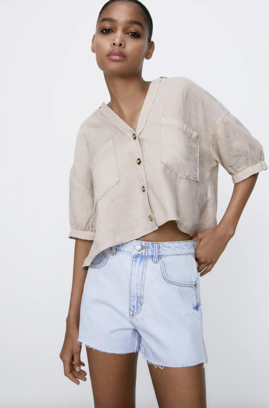 <p>These <span>Zara High Rise Denim Shorts</span> ($36) are going to be staples in your wardrobe. Style them with a breezy linen shirt.</p>