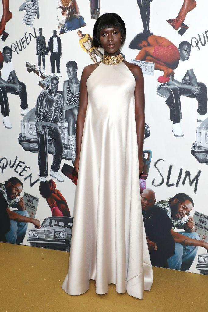 <p>The Queen & Slim actor wore a halterneck dress by Reem Acra for the premiere.</p>