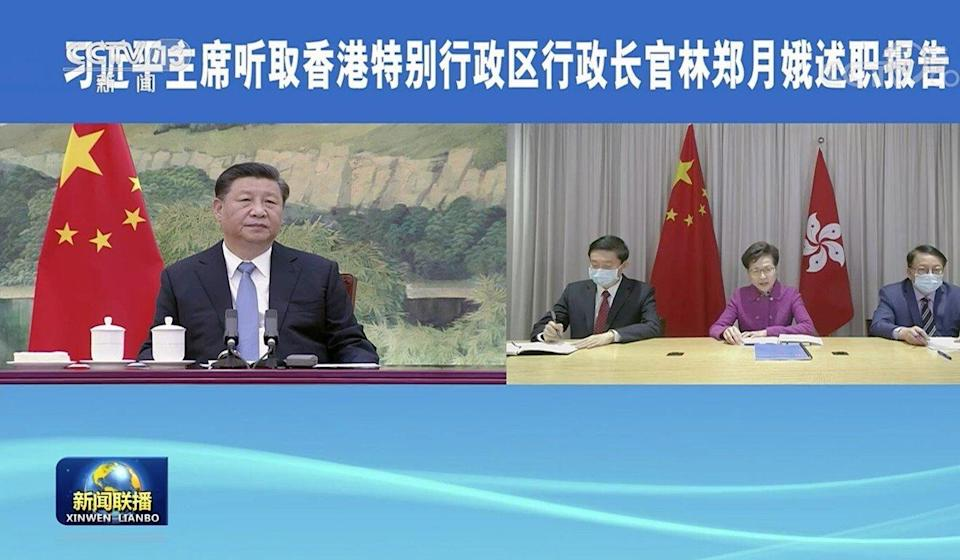 Hong Kong Chief Executive Carrie Lam holds a virtual meeting with President Xi Jinping and Premier Li Keqiang on January 27, 2021. Photo: Handout