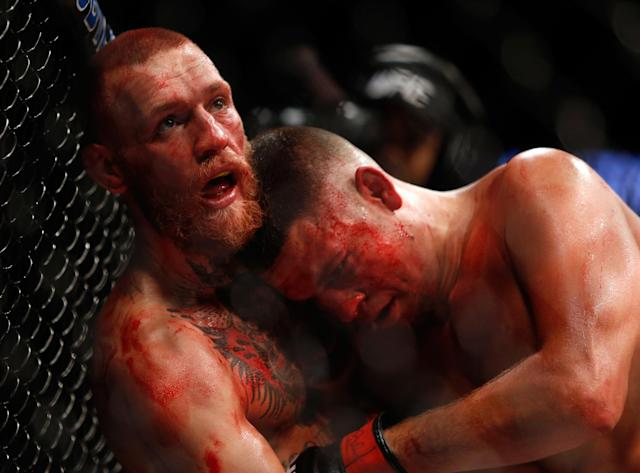 <p>McGregor was submitted by Diaz in the second round of their welterweight bout five months earlier. McGregor gassed in that fight and had no answer for Diaz's jiu-jitsu. He vowed to never again lose his conditioning and he came into the rematch in vastly better shape. The bout was a fast-paced back-and-forth affair in which McGregor knocked Diaz down several times and then hung on as Diaz mounted a comeback. McGregor pulled out a close decision victory in what at the time was the best-selling UFC bout in history. </p>
