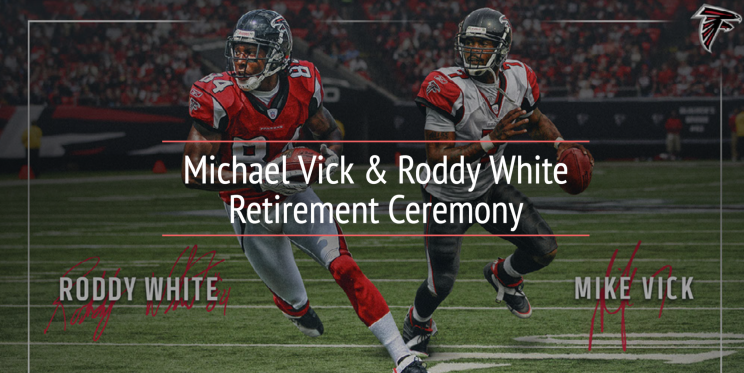 Michael Vick/Roddy White retirement ceremony. (Via Falcons)