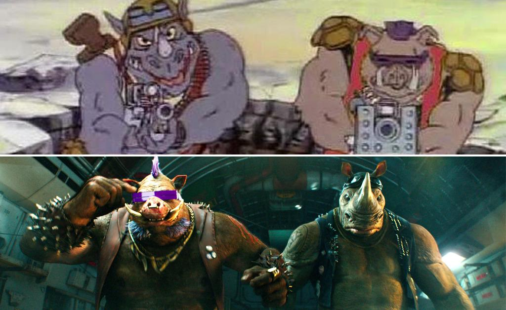 """<p>Shredder's dumb-but-devoted henchmen became instant fan favorites with their 1987 debut. <a href=""""http://t""""><i>TMNT </i>lore</a> has it that the pair were to appear in 1991's <i>Secret of the Ooze</i>, but wound up being replaced by a pair of inferior substitutes, Tokka and Rahzar. Thankfully, the Mohawk-sporting warthog and the angry rhino are finally ready for their close-up, portrayed by Gary Anthony Williams and Stephen Farrelly (a.k.a., Sheamus of WWE fame), respectively.</p><p>(Photo:Group W Productions/Paramount)</p>"""