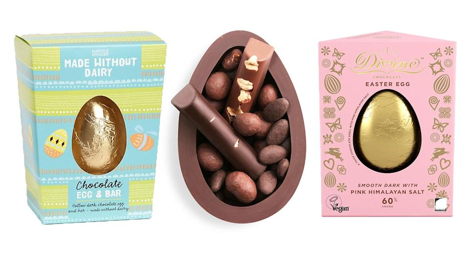 It's never been easier to buy quality vegan Easter eggs. [Photo: Marks & Spencer/Hotel Chocolat/Divine]