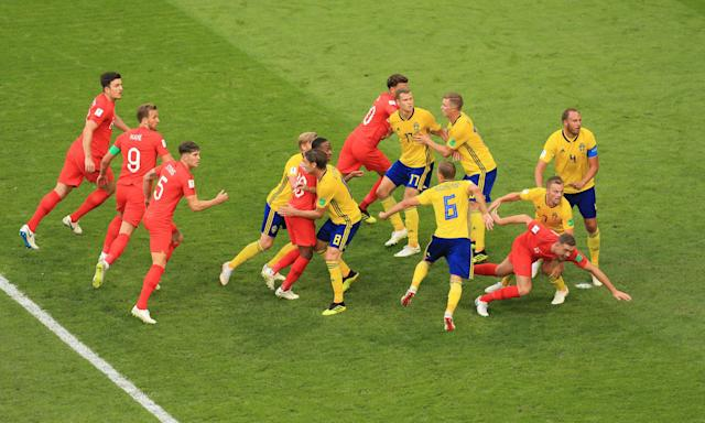 England, in red, attack a corner during their 2-0 quarter-final victory overt Sweden. Gareth Southgate' side have been among the best sides at scoring from set-pieces at the World Cup.