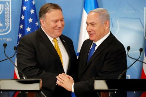 US Secretary of State Mike Pompeo, left, has just returned from a meeting with Netanyahu in Tel Aviv