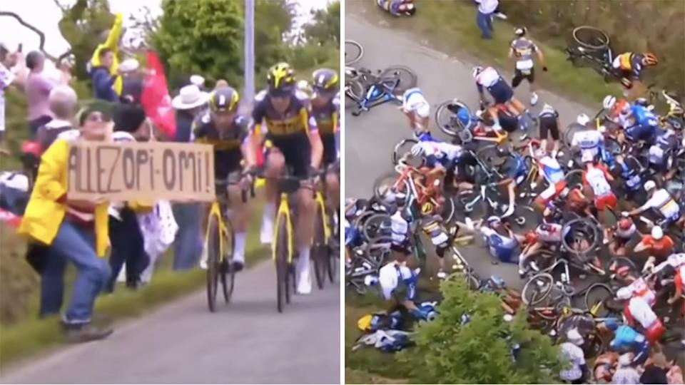 Charges against the fan who carelessly held a sign in front of the peleton during the Tour de France, causing a massive pile-up, have been dropped. Pictures: Eurosport