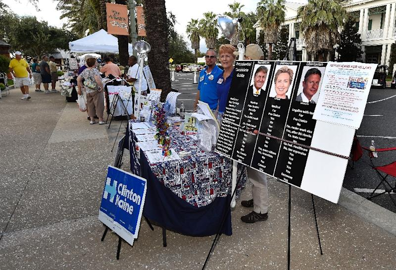 Democratic campaign volunteers work a booth in the square of The Villages retirement community outside Orlando, Florida (AFP Photo/Rhona Wise)