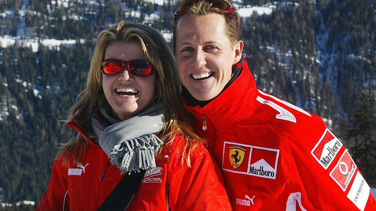 Michael Schumacher with his wife Corinna, in the winter resort of Madonna di Campiglio