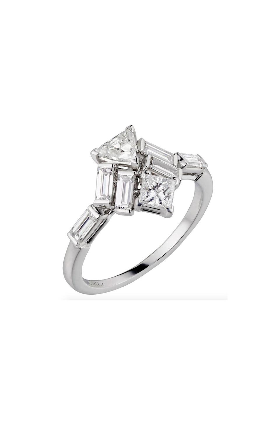 """<p><strong>Cartier</strong></p><p>cartier.com</p><p><strong>$13000.00</strong></p><p><a href=""""https://www.cartier.com/en-us/collections/jewelry/rings/diamond-collection/n4752700-reflection-de-cartier-ring.html"""" rel=""""nofollow noopener"""" target=""""_blank"""" data-ylk=""""slk:Shop Now"""" class=""""link rapid-noclick-resp"""">Shop Now</a></p><p>One word sums up this ring: Wow. Expertly cut diamonds are set together to showcase that more really is more. </p>"""