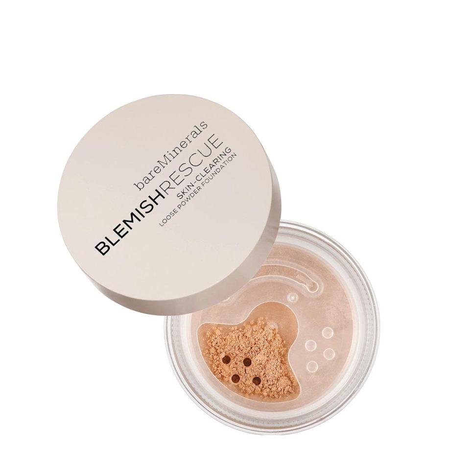 """If you have oily skin, Irwin recommends a loose powder foundation to quickly cover large areas and absorb oil. """"This one has zinc, sulfur, and salicylic acid to treat while it covers and has 20 color choices,"""" she says. Reviewers note that it's especially great for filling in and blurring indented scars, and the oat proteins in the formula calm any redness or irritation. $29, BareMinerals. <a href=""""https://shop-links.co/1708732271787064962"""" rel=""""nofollow noopener"""" target=""""_blank"""" data-ylk=""""slk:Get it now!"""" class=""""link rapid-noclick-resp"""">Get it now!</a>"""