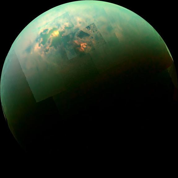 The sun lights up patches of the seas around the northern pole of Saturn's moon, Titan.