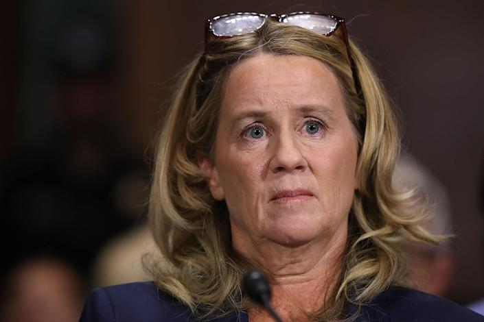 Christine Blasey Ford before the Senate Judiciary Committee on Thursday. (Photo: Win McNamee/Getty Images)