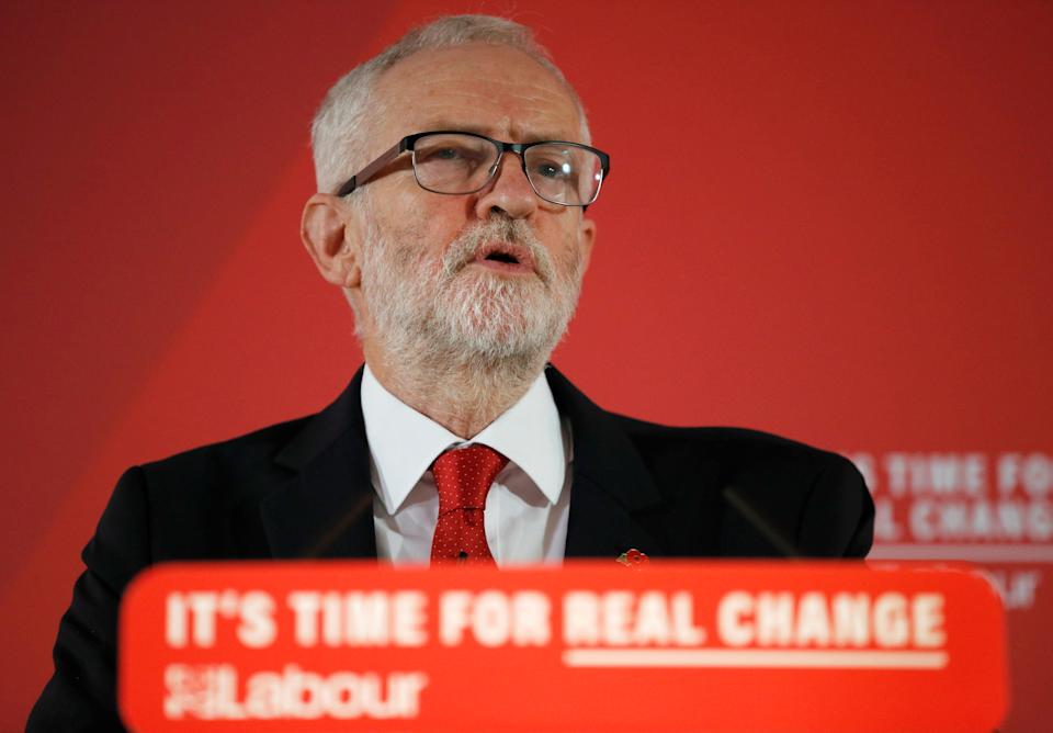 Britain's opposition Labour Party leader Jeremy Corbyn speaks during a general election campaign event at the University of Wolverhampton in Telford, Britain, November 6, 2019. REUTERS/Phil Noble