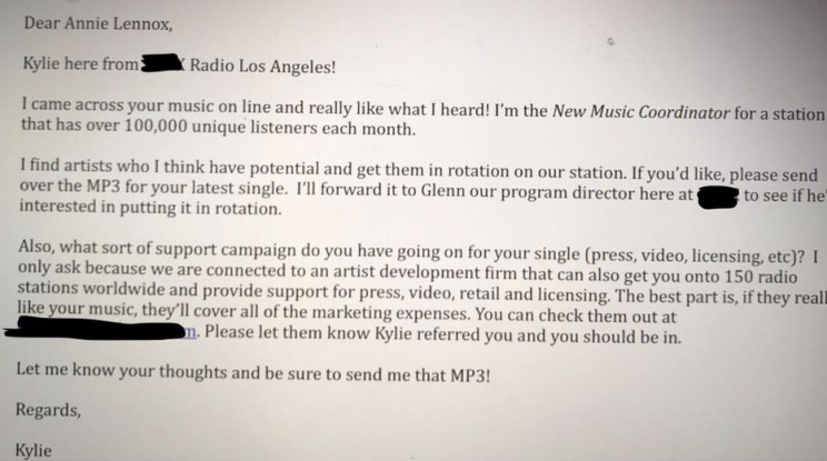 Annie Lennox shares spectacularly cringeworthy email from 'new music coordinator'