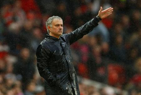 Soccer Football - Premier League - Manchester United vs West Bromwich Albion - Old Trafford, Manchester, Britain - April 15, 2018   Manchester United manager Jose Mourinho      Action Images via Reuters/Jason Cairnduff