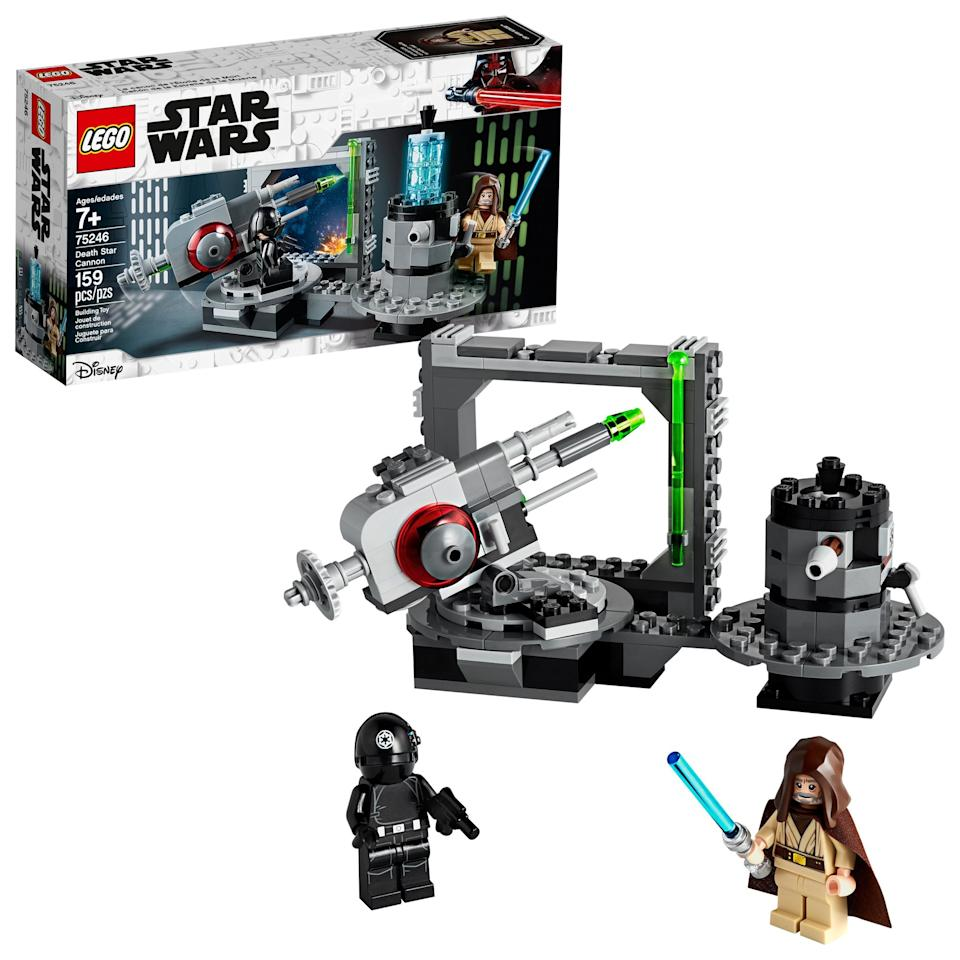 "<p>The <a href=""https://www.popsugar.com/buy/Lego-Star-Wars-New-Hope-Death-Star-Cannon-498235?p_name=Lego%20Star%20Wars%3A%20A%20New%20Hope%20Death%20Star%20Cannon&retailer=walmart.com&pid=498235&price=20&evar1=moms%3Aus&evar9=45805064&evar98=https%3A%2F%2Fwww.popsugar.com%2Ffamily%2Fphoto-gallery%2F45805064%2Fimage%2F46720176%2FLego-Star-Wars-New-Hope-Death-Star-Cannon&list1=toys%2Clego%2Ctoy%20fair%2Ckids%20toys%2Cbest%20of%202019&prop13=api&pdata=1"" rel=""nofollow"" data-shoppable-link=""1"" target=""_blank"" class=""ga-track"" data-ga-category=""Related"" data-ga-label=""https://www.walmart.com/ip/LEGO-Star-Wars-A-New-Hope-Death-Star-Cannon-75246-Building-Kit/115353651"" data-ga-action=""In-Line Links"">Lego Star Wars: A New Hope Death Star Cannon</a> ($20) has 159 pieces and is aimed at kids ages 7 and up.</p>"