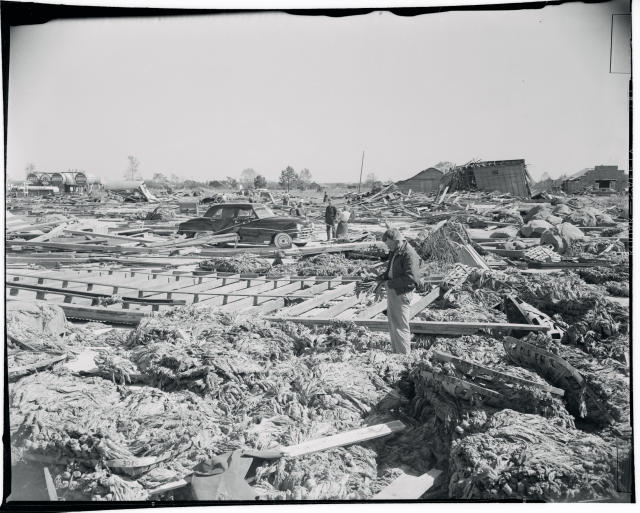 <p>The aftermath of Hurricane Hazel in North Carolina in October, 1954. (Photo from Getty Images) </p>