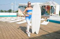 <p>Nina Agdal teaches her workout class at The Surf Lodge in Montauk, New York with Lightbox Jewelry on July 17.</p>