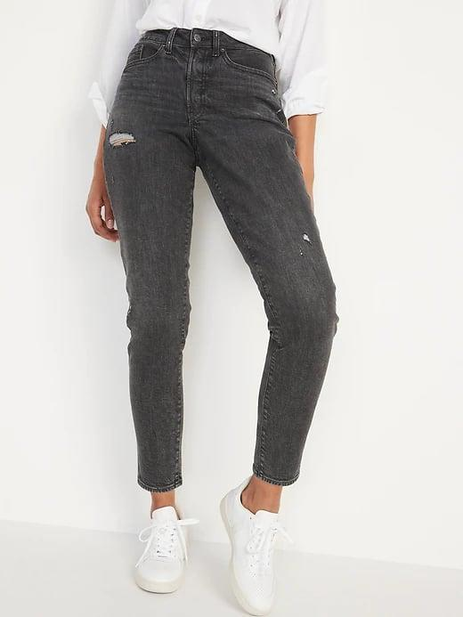 <p>These <span>Old Navy High-Waisted Curvy O.G. Straight Ripped Gray Ankle Jeans</span> ($40) look sharp with a white top and sneakers instead of traditional blue.</p>